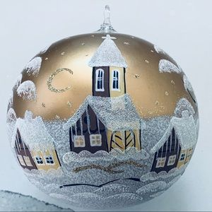 Extra Large Gold HandPainted Winter Scene Ornament